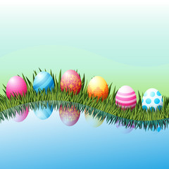 Easter eggs lie in green grass. Realistic 3d, colored with a lacy pattern. For congratulations and banners. Reflection in water.The vector illustration.