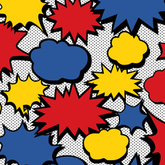 Hand drawn vector illustration of comic book speech bubble pattern and dot pattern.Abstract wallpaper.