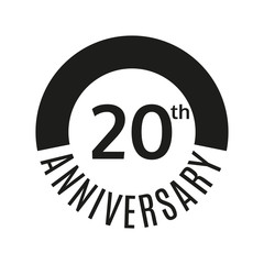 20th anniversary icon. 20 years celebrating or birthday logo. Vector illustration.