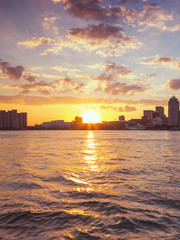 Beautiful skyline of Detroit City, the view from Windsor, Ontario, Canada.