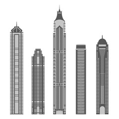 Skyscrapers set. Modern city buildings silhouettes isolated on white background. Tower and office architecture. Vector illustration.