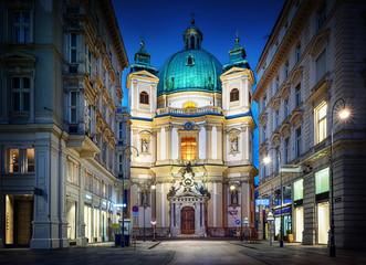 Fond de hotte en verre imprimé Vienne Peters Church on Petersplatz. Vienna, Austria.
