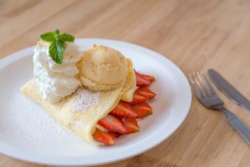 Strawberry Crape and vanilla ice cream