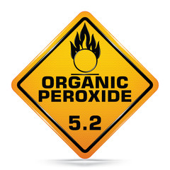 International Organic Peroxide Class 5.2 Sign Symbol isolated on white background, Attracting attention,Compulsory, Control ,practice, Security first sign, Idea for graphic,web design,EPS10.