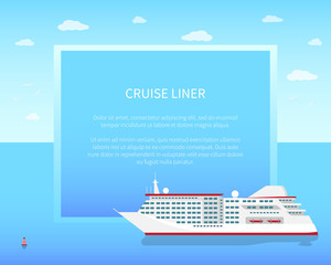 Cruise Liner Poster, Color Vector Illustration