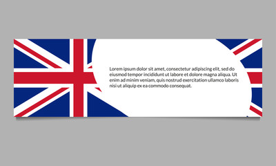 UK flag banner or header template. British flag background with space for text. Great Britain national symbol. Vector illustration.