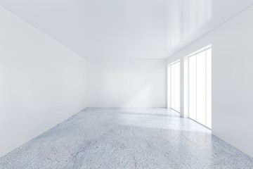 Large window in white room with a bright light. 3D rendering.