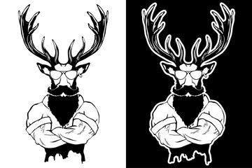 Steep fashionable deer Hipster animal. Vintage style illustration for tattoo, logo, emblem