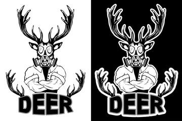 Steep fashionable deer Hipster animal. Vintage style illustration for tattoo, logo, emblem, print on the t-shirt