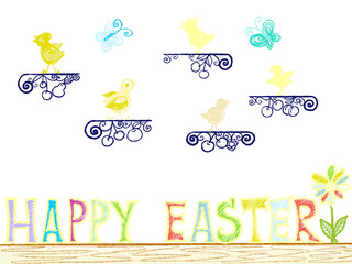 Colorful hand drawn bright chics and letters as phrase Happy Easter on white background, isolated cartoon illustration for Easter painted by pastel, paper pencil chalk, high quality