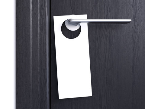 White door hanger tag. 3d rendering