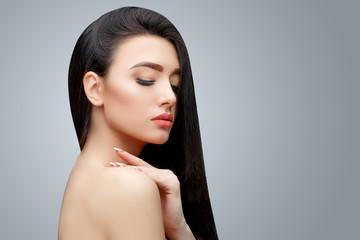 Brunette asian girl with long straight hair