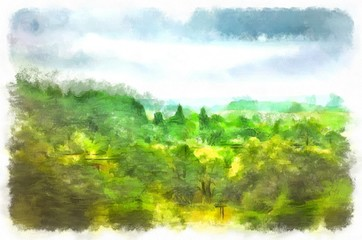Watercolor landscape, gloomy summer morning. Rainy sky, hung over the summer, bright green forest