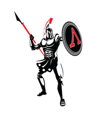 Spartan warrior in a helmet, with a spear and a shield.