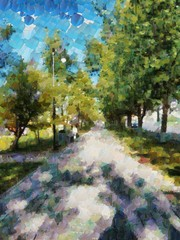 Summer Park, in the style of a palette knife, the rays of the sun make their way through the crowns of thick green trees, throwing intricate patterns on the hot summer asphalt