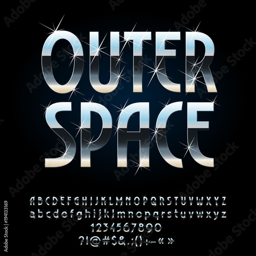 Vector Reflective Metallic Sign Outer Space Futuristic Style Set Of