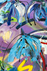 Vibrant multi-colored original oil painting semi-abstract close up detail showing brushwork and canvas textures - flowers