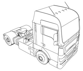 Commercial Delivery Cargo Truck vector for brand identity and advertising isolated. Created illustration of 3d. Wire-frame.