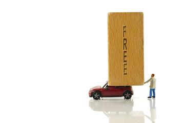 little figure man free transport wooden block