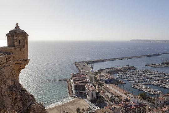 General city view from santa barbara castle.Alicante, Spain.