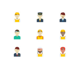 Occupation icons set with safety worker, hotel receptionist and indian worker elements. Set of occupation icons also including air captain sign for your web app logo UI design.