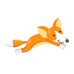 illustration cartoon happy fox isolated on white background
