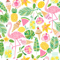 Vector tropical seamless pattern. Summer background
