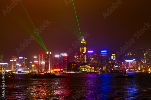 Hong Kong China Cityscape With River And Illuminated