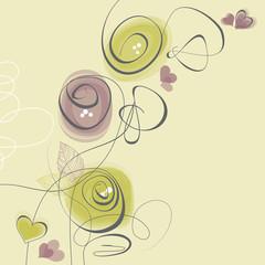 Fototapete - Spring flowers, love greeting card