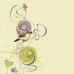 Fototapete - Cute flowers and bird love card