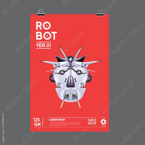 Robot head poster design template