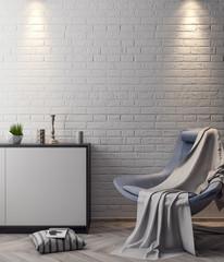 Mockup Poster in the interior, 3D illustration of a modern design