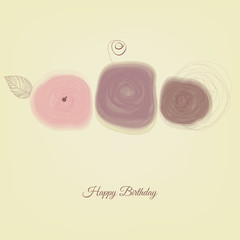 Fototapete - Flowers cute card. Abstract roses minimal design, romantic invitation