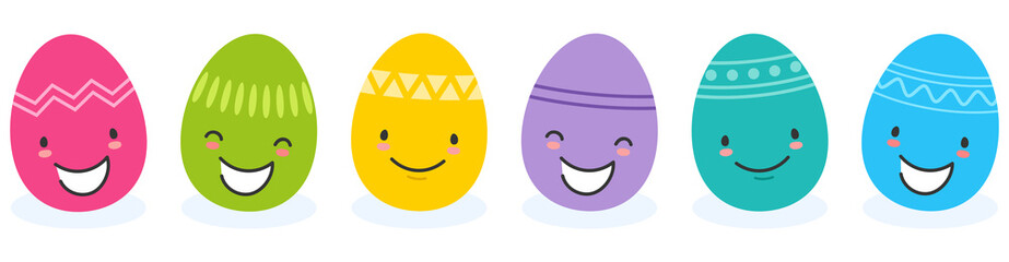 Simple vector illustration of six colorful flat design easter eggs, cartoon characters with funny faces isolated on white background