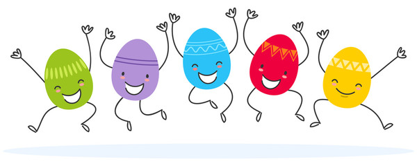 Simple vector illustration of five colorful flat design easter eggs, cartoon characters jumping isolated on white background