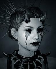 Lady Devil,3d illustration concept background,Mixed media