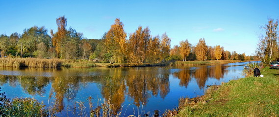 Panoramic autumn landscape with river