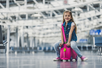 Little girl in airport