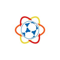 Soccer Science Atom Logo Icon Design