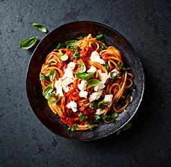 Spaghetti with Fresh Tomato Sauce, Mozzarella and Basil