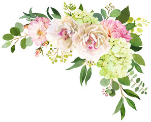 Wedding bouquet. Peony, Hydrangea and rose flowers watercolor illustrations