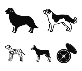 St. Bernard, retriever,doberman, labrador. Dog breeds set collection icons in black style vector symbol stock illustration web.