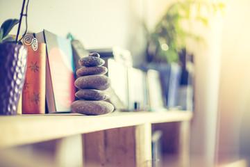 Steinmännchen auf Bücherregal in Wohnzimmer, Feng Shui