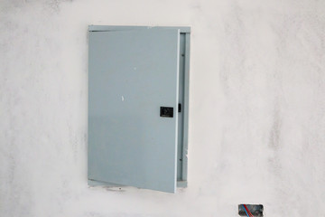 New house construction interior with electric box