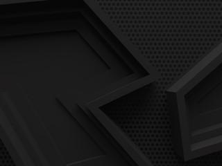 black dark shadow abstract graphics background 3d render.