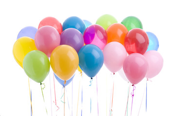Colorful party balloons isolated on white