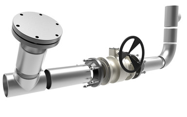 3D model of a steel valves and industrial pipeline