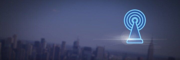 signal icon over dark city