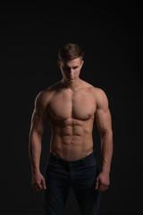 athlete on a black background