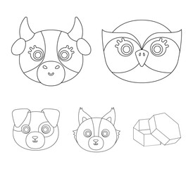 Owl, cow, wolf, dog. Animal's muzzle set collection icons in outline style vector symbol stock illustration web.